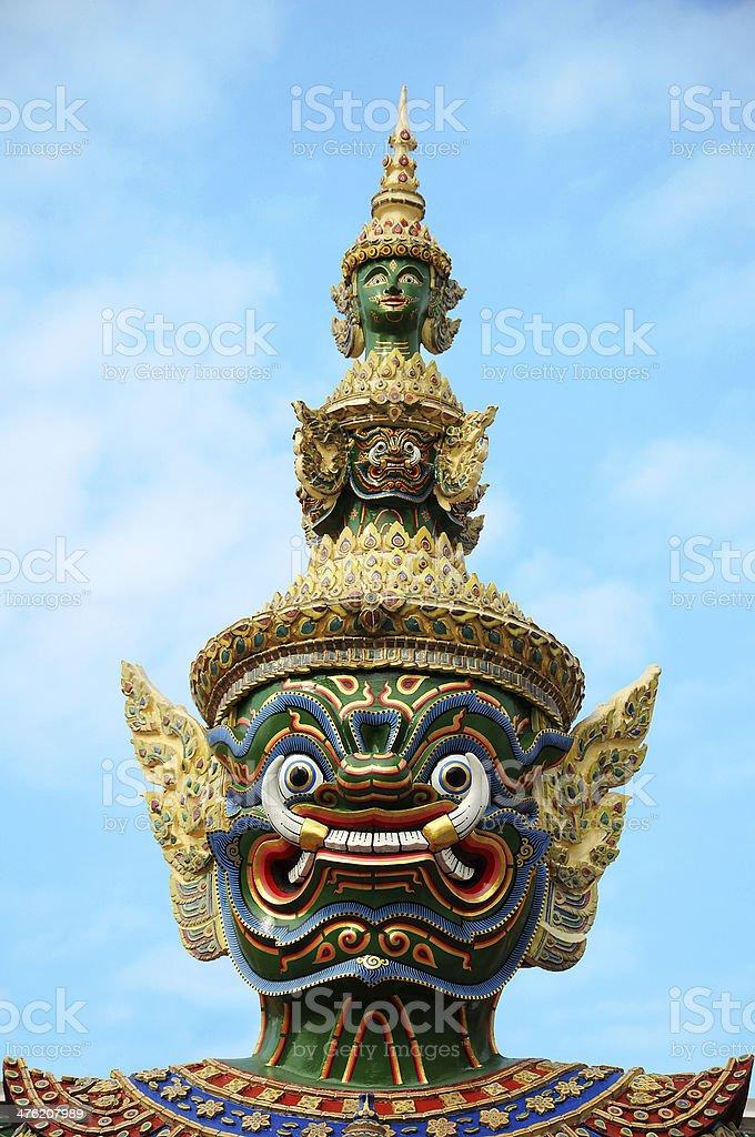 Giant of Wat Phra Kaew, Bangkok Thailand. stock photo