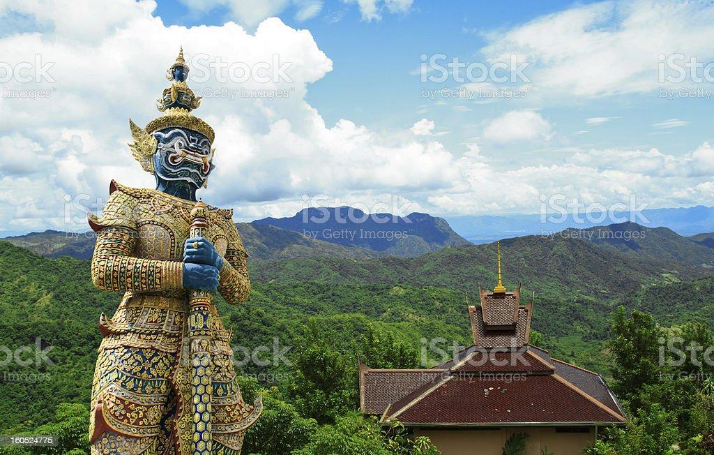 Giant on the mountain scene. royalty-free stock photo