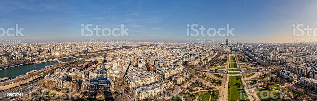 Giant Panoramic view of the Champs de Mars & the Seine stock photo