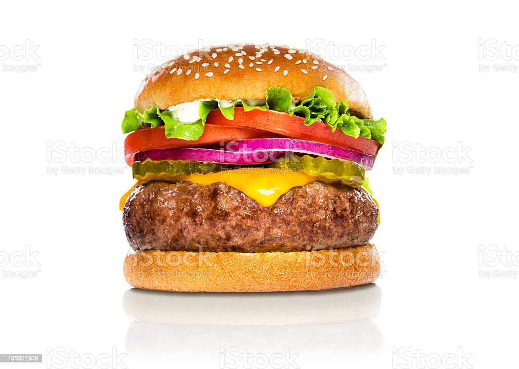 Giant perfect burger large massive thick classic american cheeseburger white stock photo