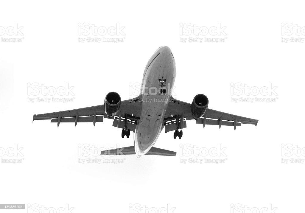 Giant plane4 flying on white background royalty-free stock photo