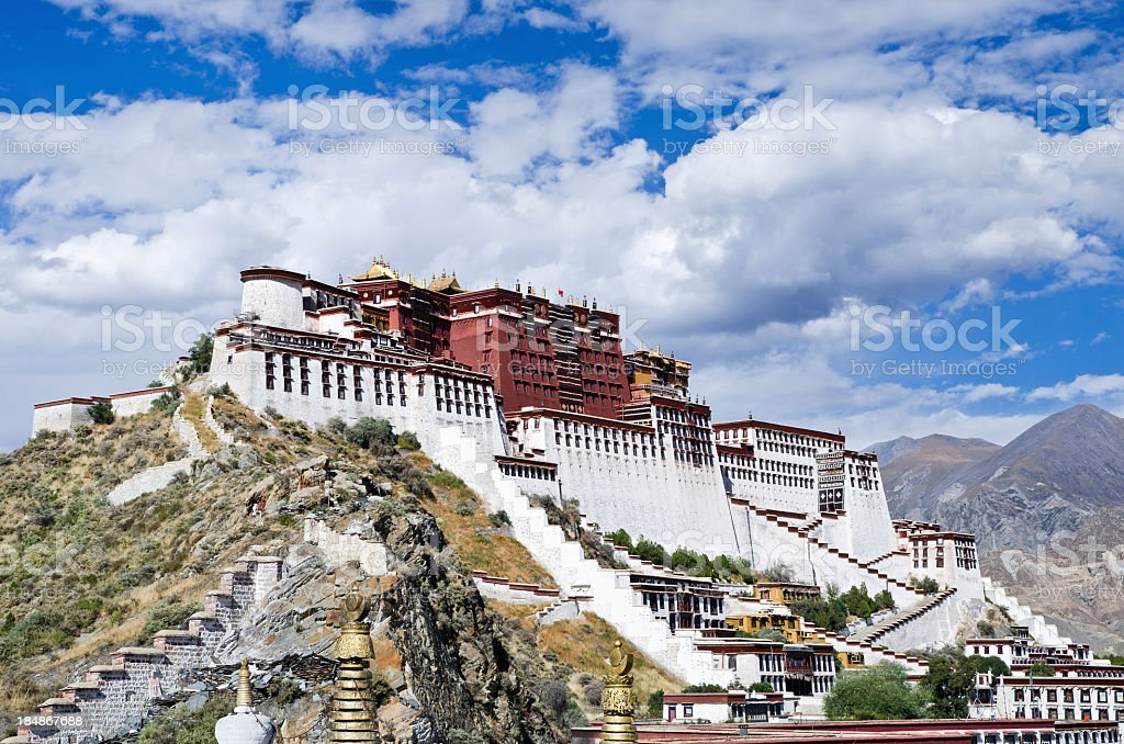 Giant Potala Palace located in Lhasa, Tibet stock photo