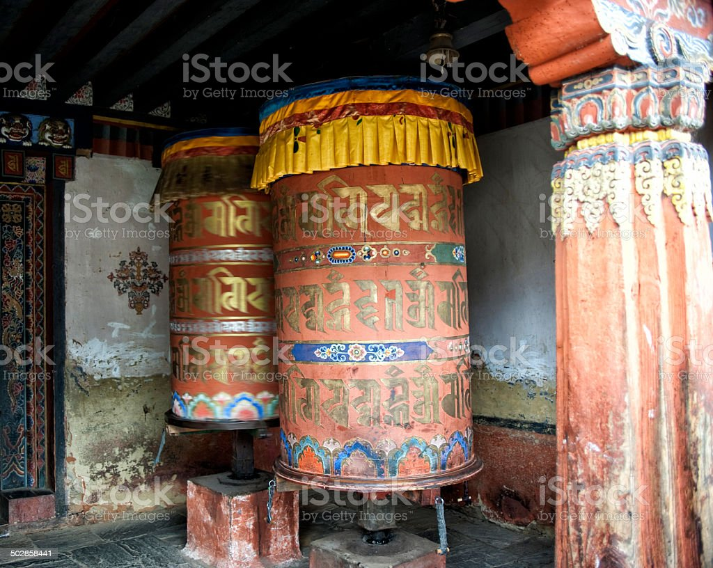 Giant Prayer Wheels, Bhutan royalty-free stock photo