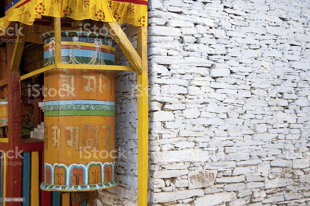 Giant Prayer Wheels, Bhutan stock photo