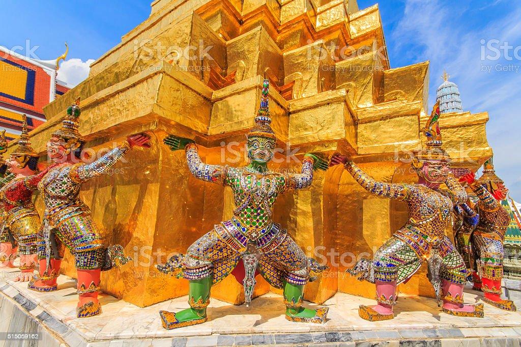 Giant Ravana carrying beautiful pagoda . stock photo