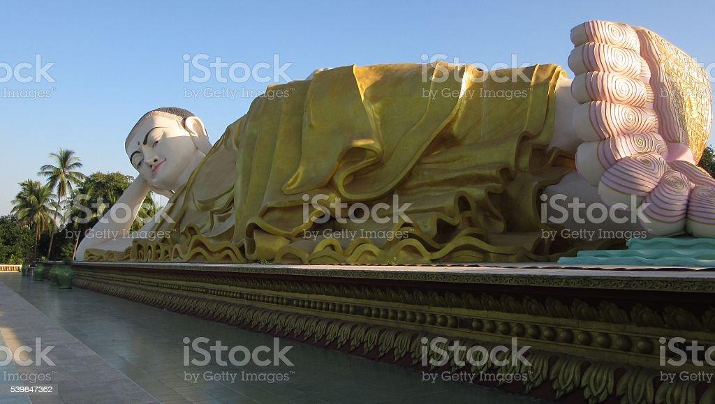 Giant Reclining Buddha, Bago, Myanmar stock photo