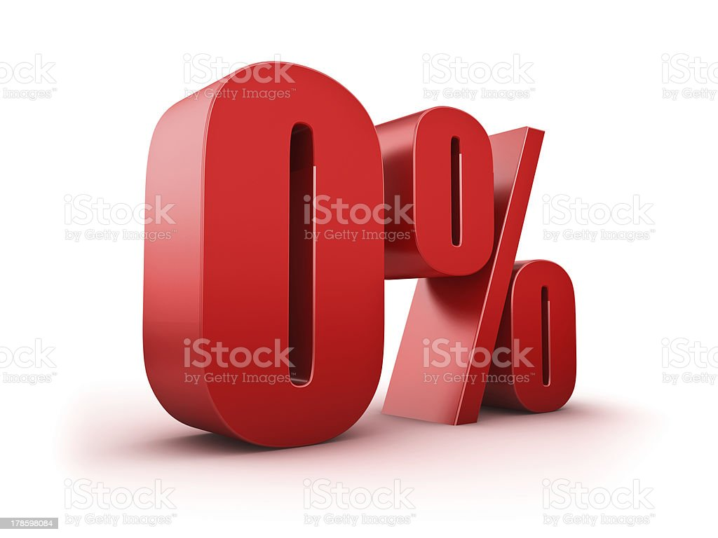 Giant red 0 percent sign depicting depth stock photo