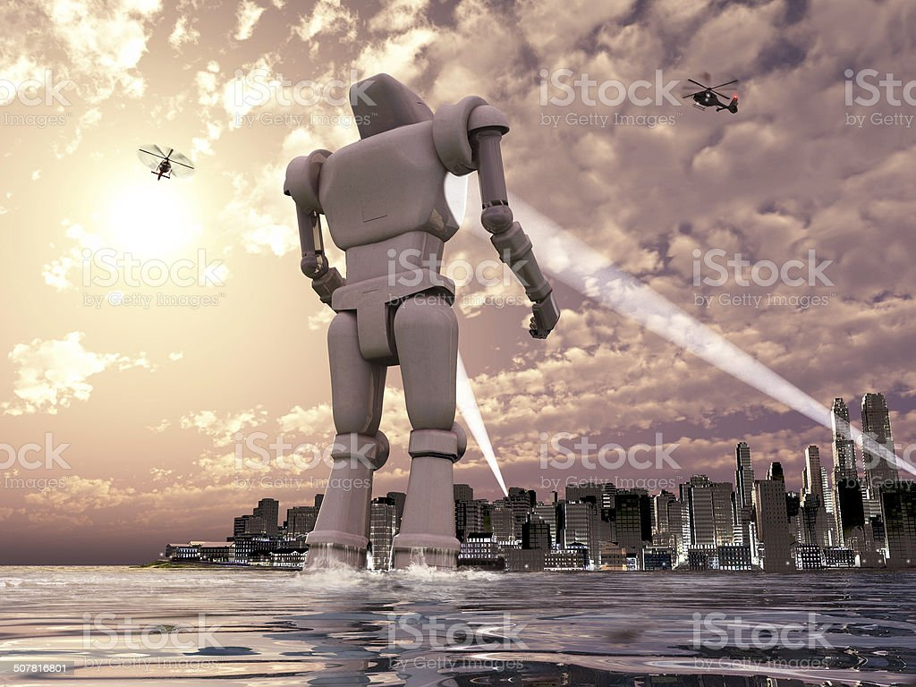 Giant robot coming to a city by the sea stock photo