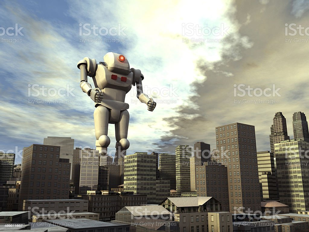 Giant robot on the city stock photo