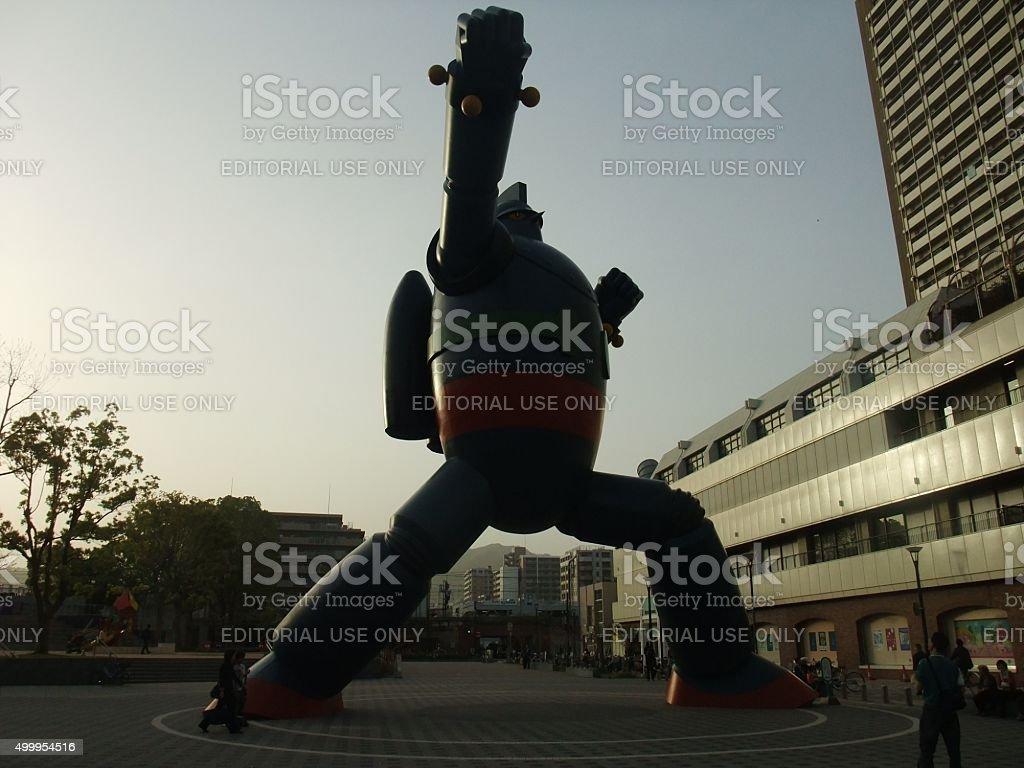 """Gigante Tetsujin robot 28"""" en el centro de la ciudad"""" foto de stock libre de derechos"""