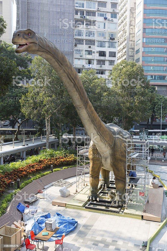 Giant Robotic Dinosaur in Hong Kong royalty-free stock photo