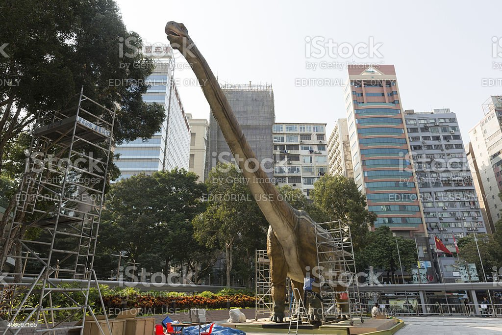 Giant Robotic Dinosaur in Hong Kong royalty-free stock photo