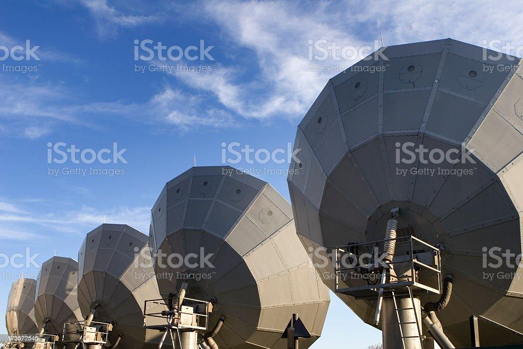 Giant satellite dishes stock photo