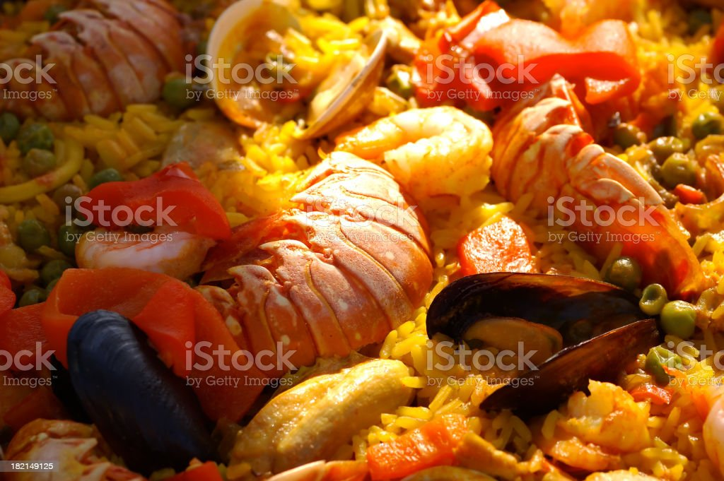 giant seafood paella royalty-free stock photo