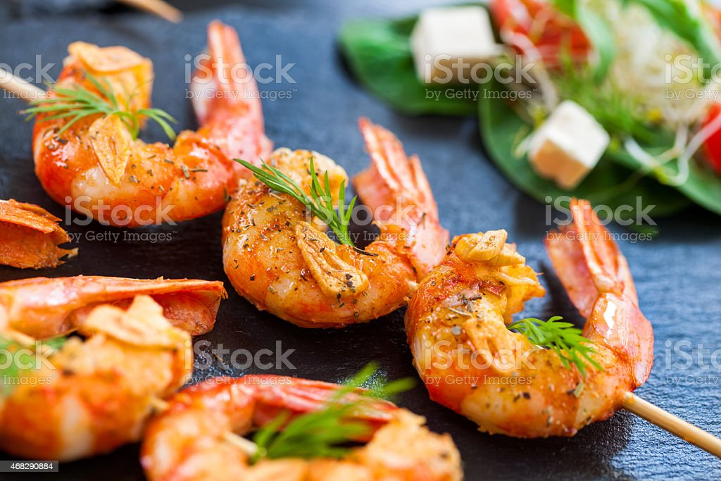 Giant Shrimp skewers. stock photo