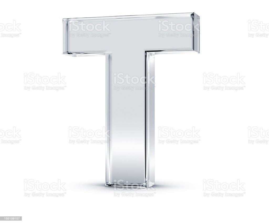 Giant silver alphabet letter T stock photo