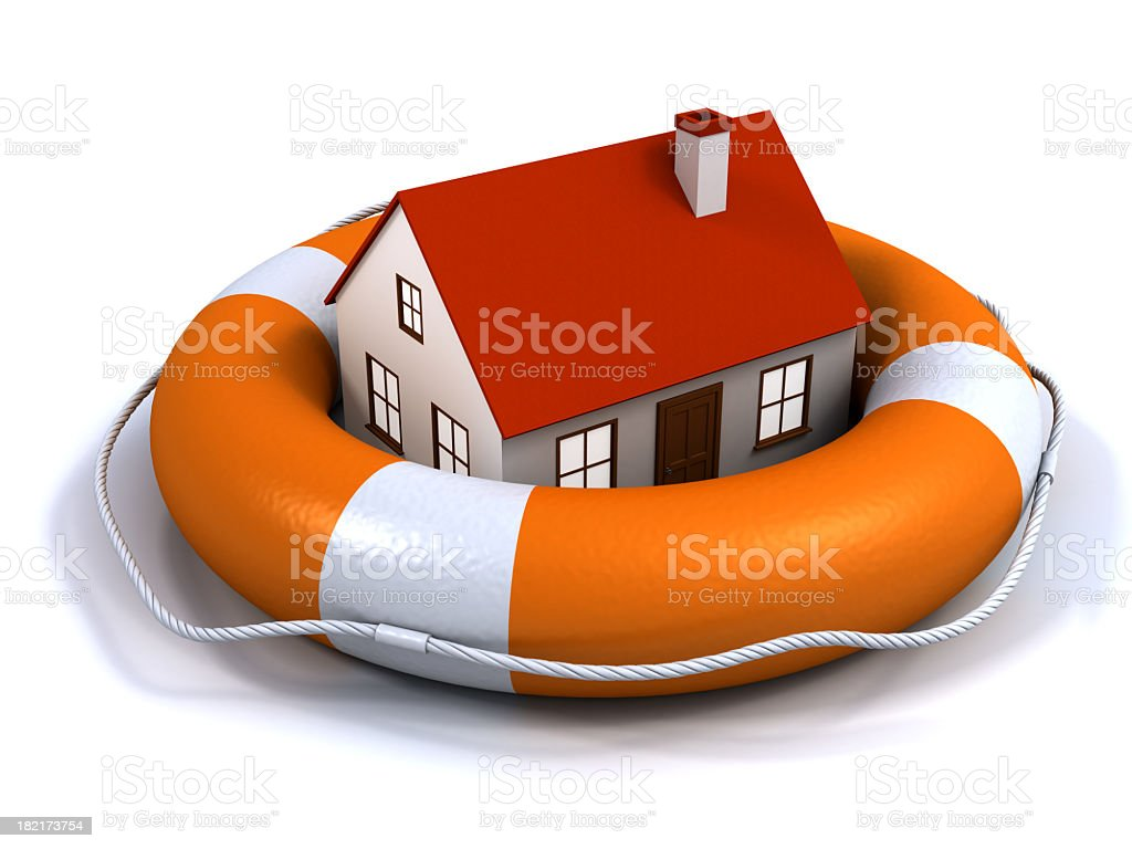 Giant size life buoy with house in the middle of it royalty-free stock photo
