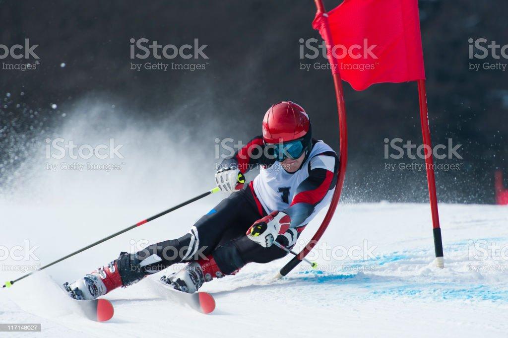 Giant slalom race stock photo