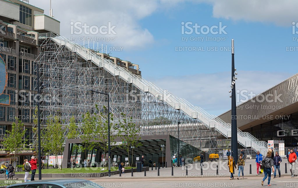 Giant stairs next to central station square Rotterdam stock photo