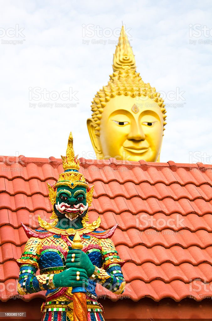 Giant statue in a temple of Thailand. royalty-free stock photo