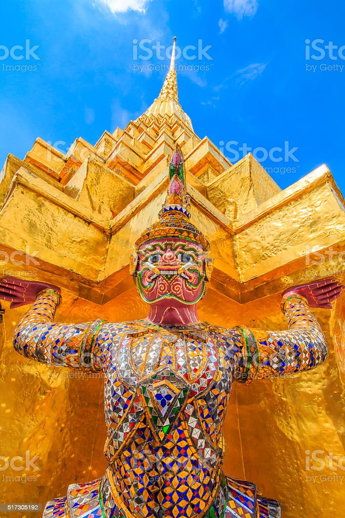 Giant statues are carrying pagoda Thailand . stock photo