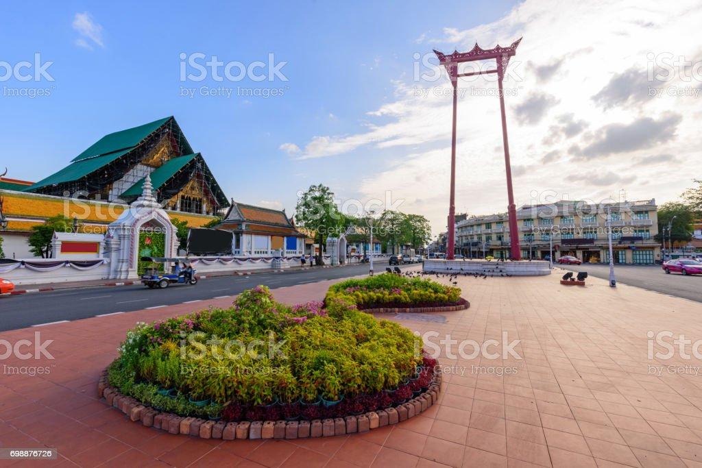 Giant swing landmark in the Bangkok stock photo