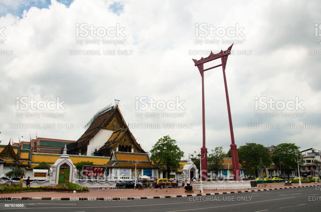 Giant Swing or Sao Chingcha is a religious structure in Phra Nakhon location in front of Wat Sutha stock photo