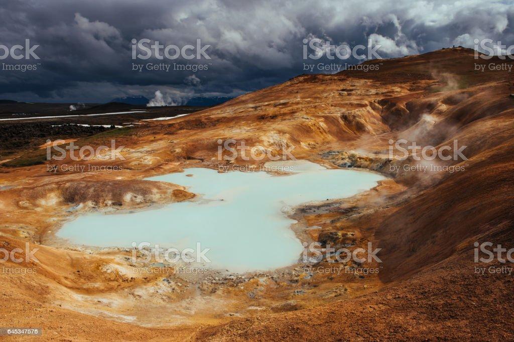 Giant volcano overlooks. stock photo