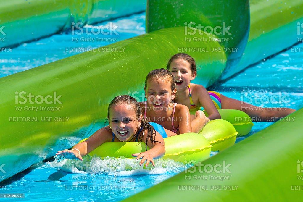 Giant water slide event in Centennial Park, Sydney stock photo