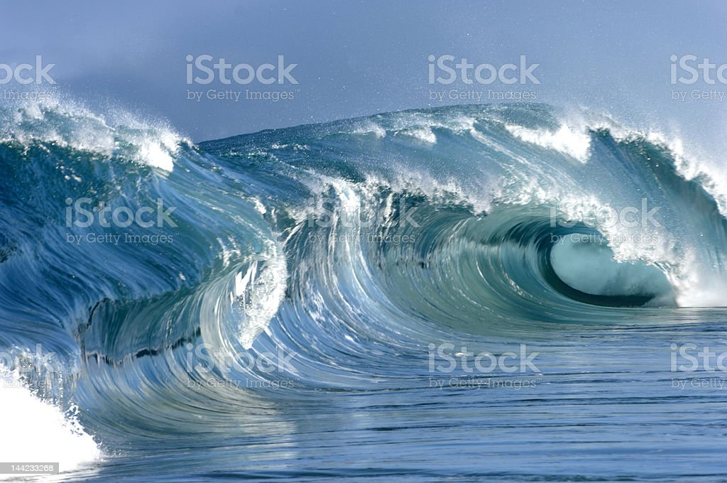giant wave in hawaii stock photo