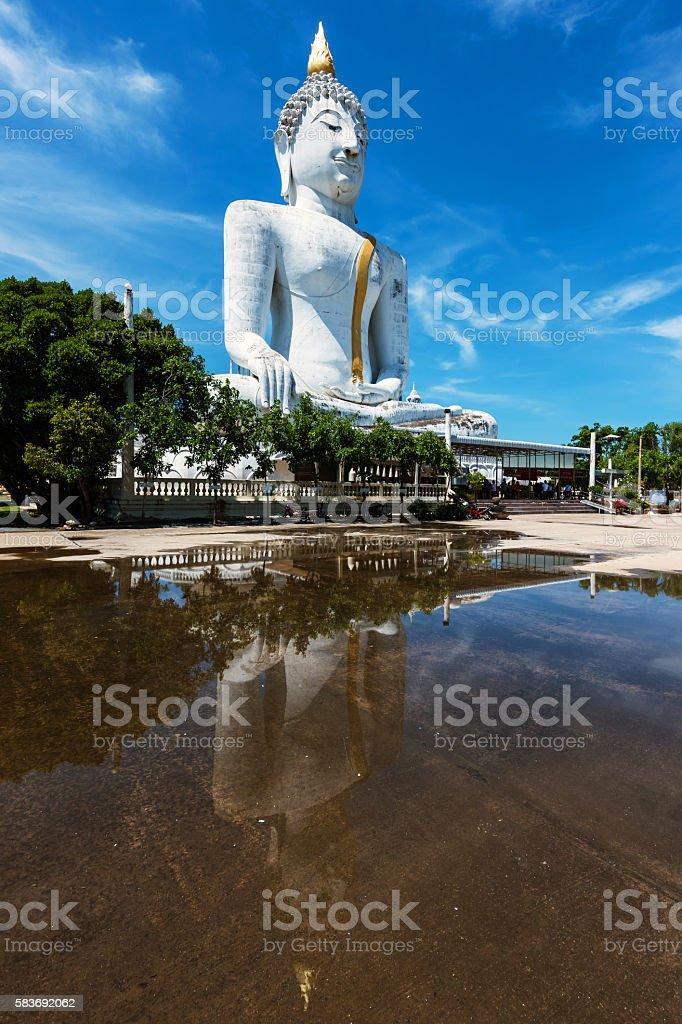 Giant white Buddha statue stock photo