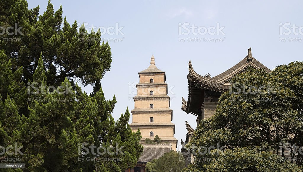 Giant Wild Goose Pagoda, Xian, Shaanxi province, China stock photo