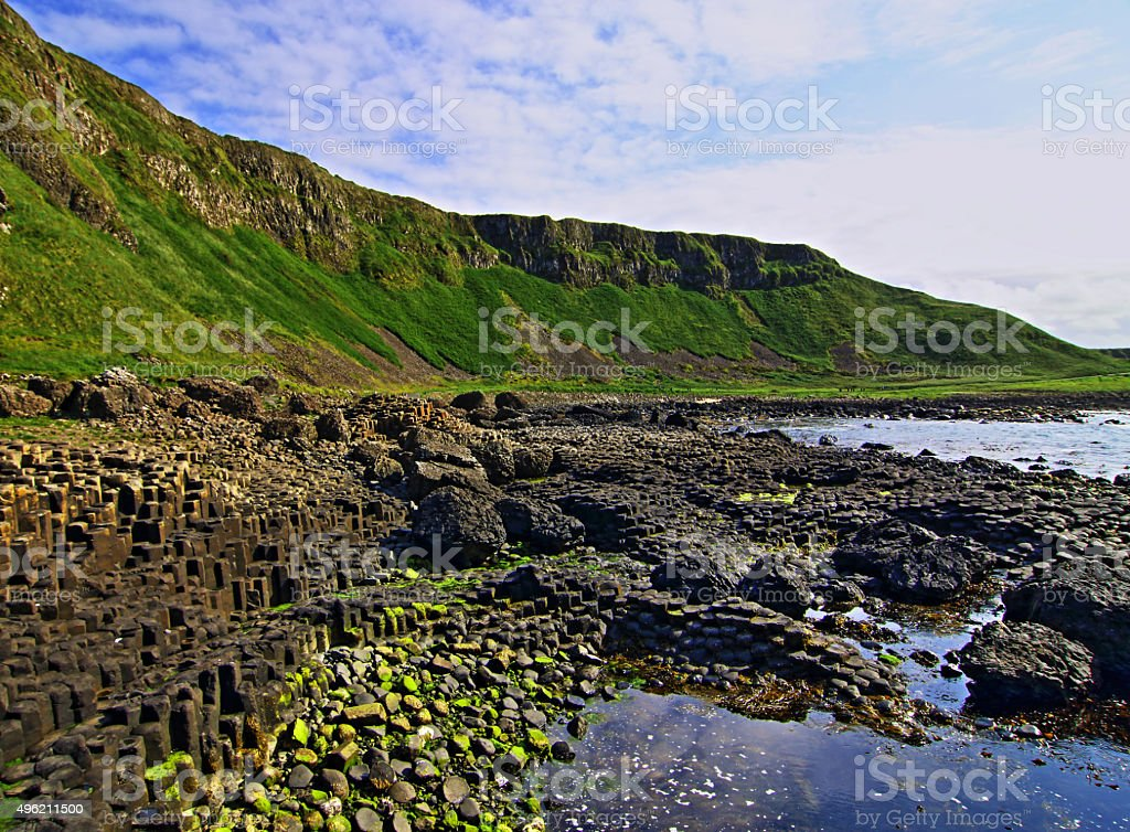 Giants Causeway Algae covered Basalt Blocks stock photo