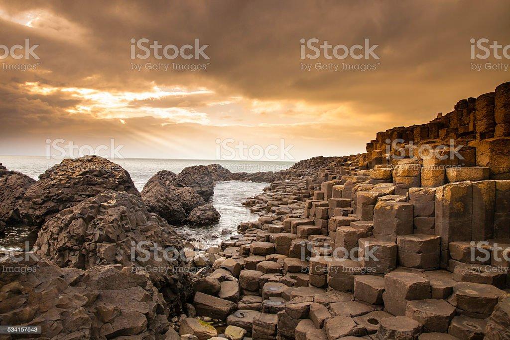 Giant's Causeway along the Northern Ireland coast stock photo