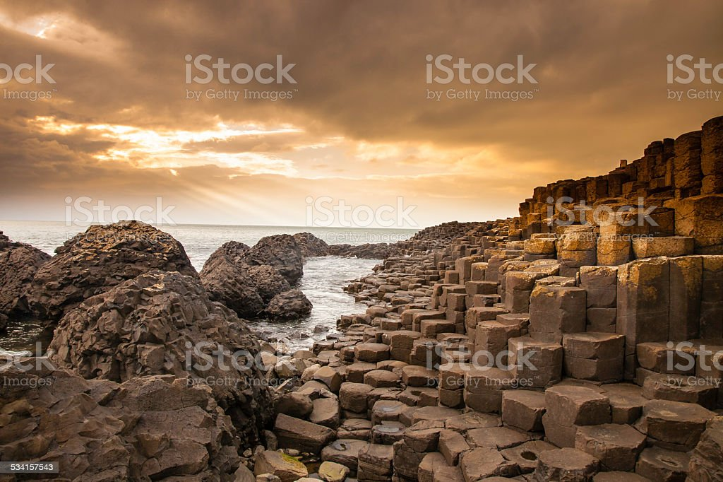 Giant's Causeway along the Northern Ireland coast stock photo