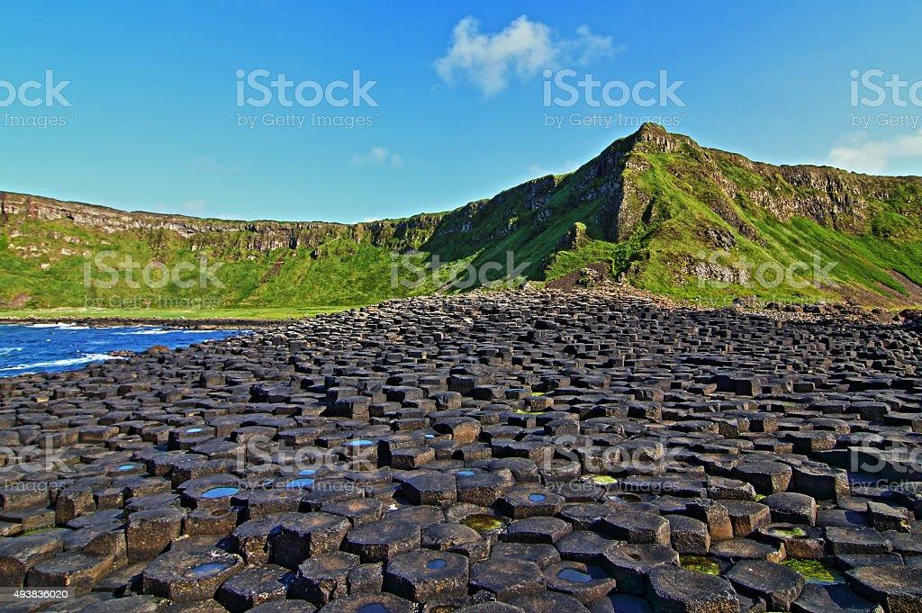 Giants Causeway and Irish sunshine stock photo