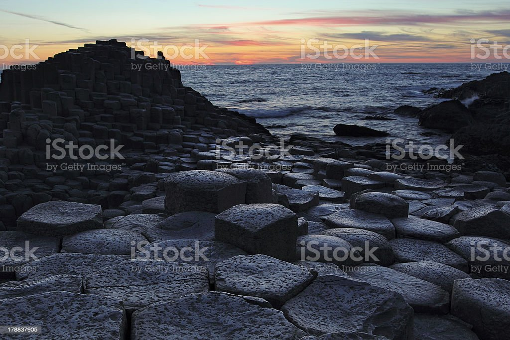 Giant's Causeway in Antrim county at sunset royalty-free stock photo