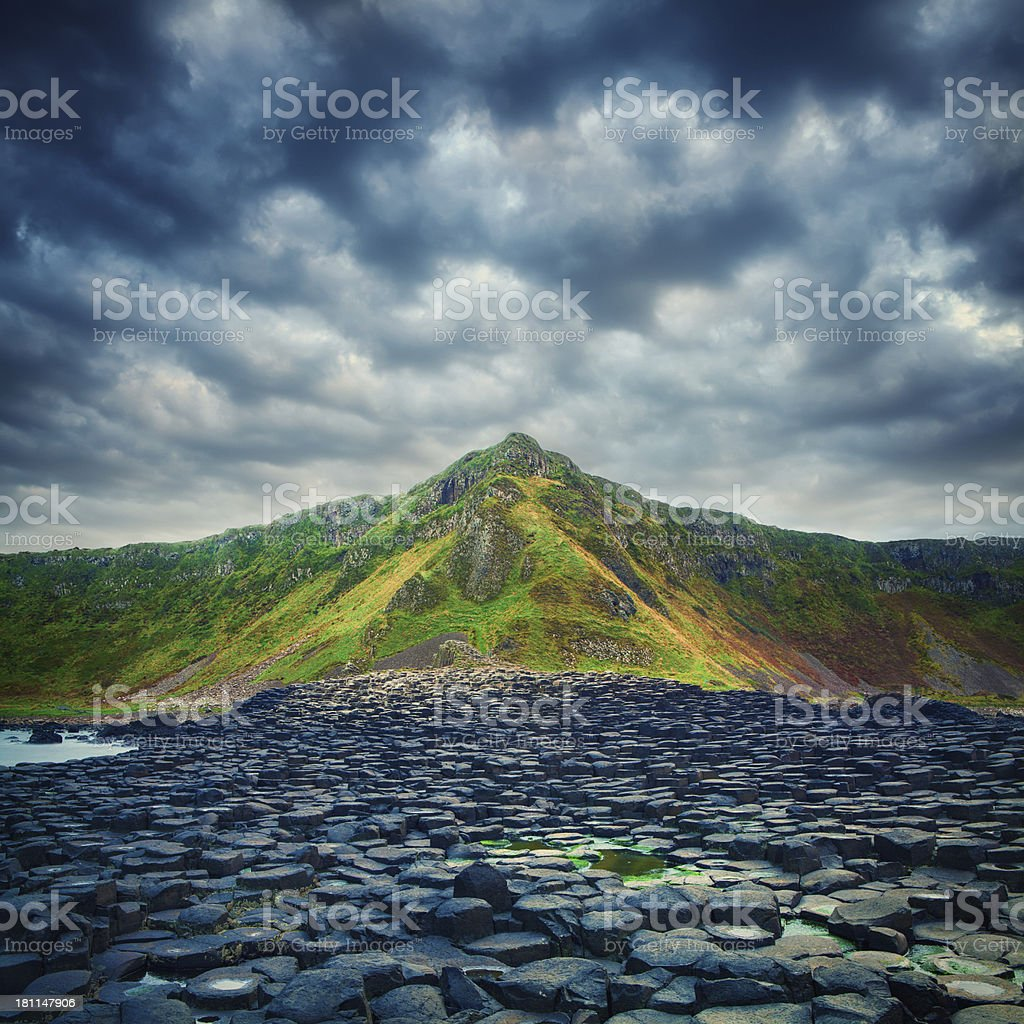 Giant's Causeway on a cloudy day royalty-free stock photo
