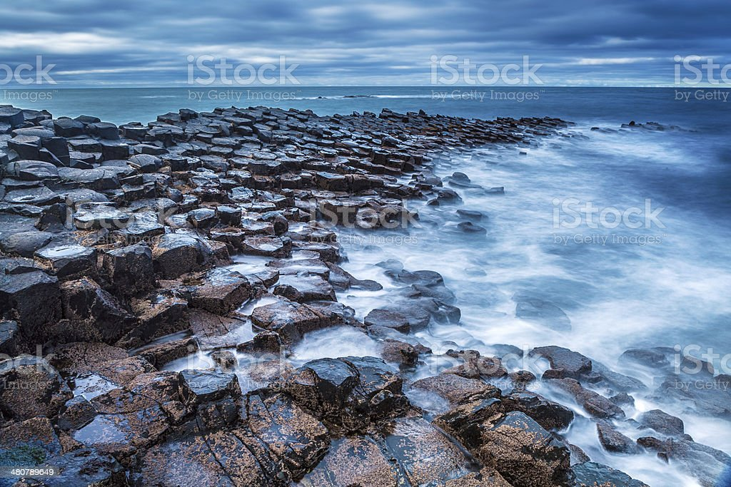 Giant's Causeway on a cloudy day stock photo