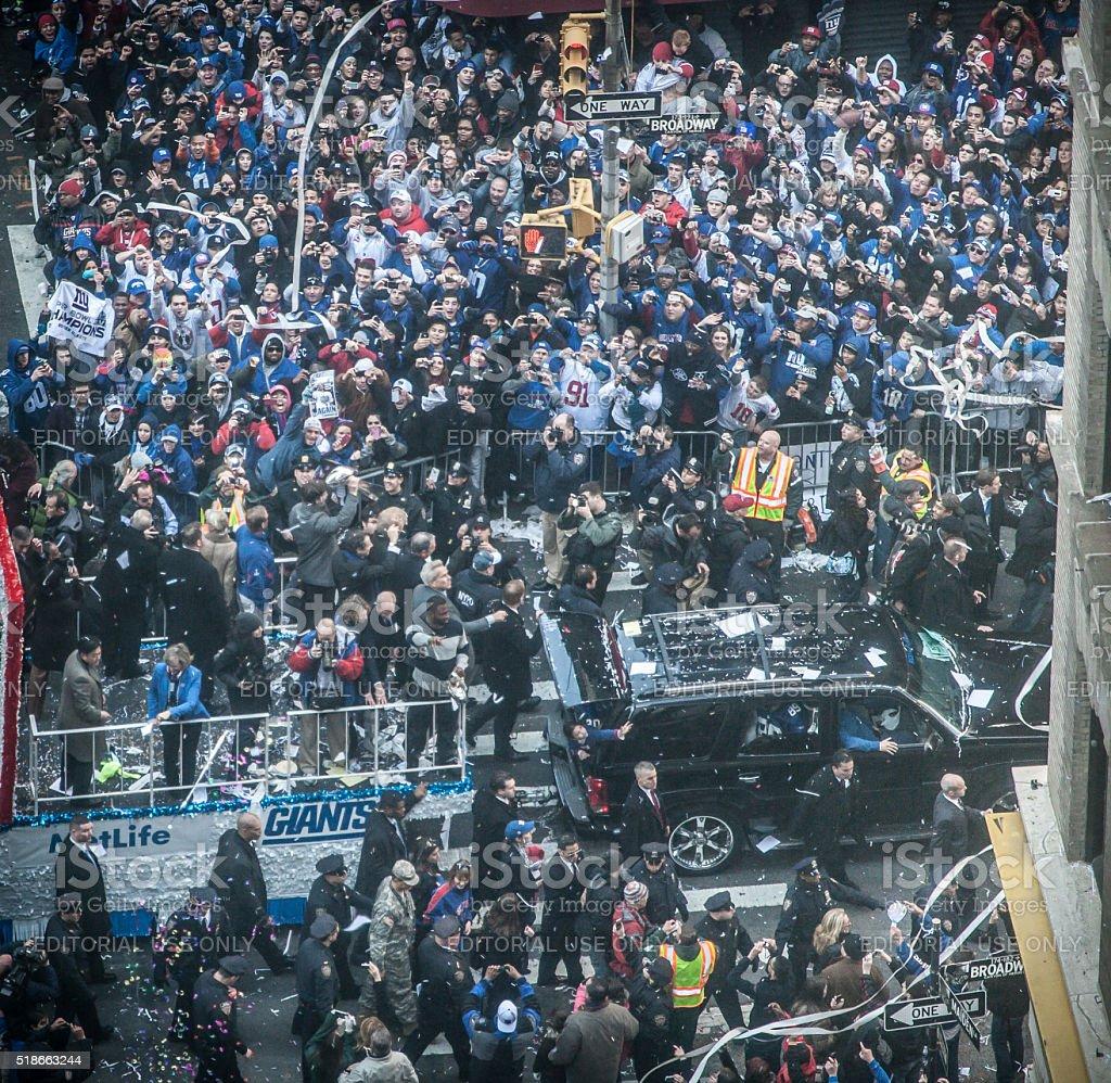 NY Giants Fans celebrate Super Bowl victory stock photo