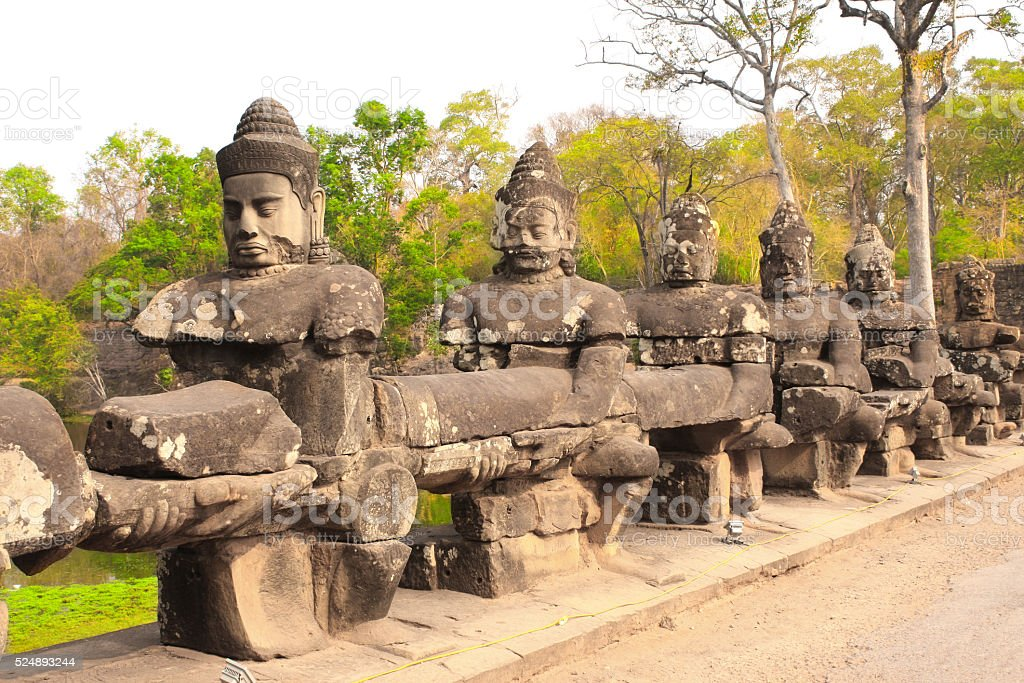 Giants in Front Gate in Prasat Bayon Temple, Angkor Wat stock photo