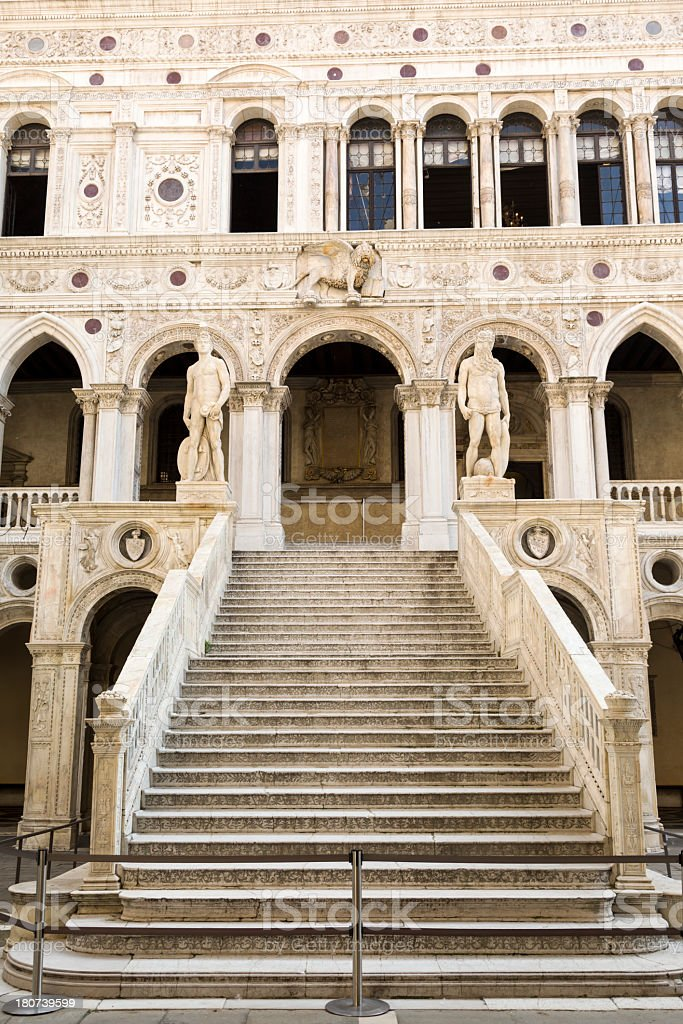 Giants staircase in doges palace royalty-free stock photo