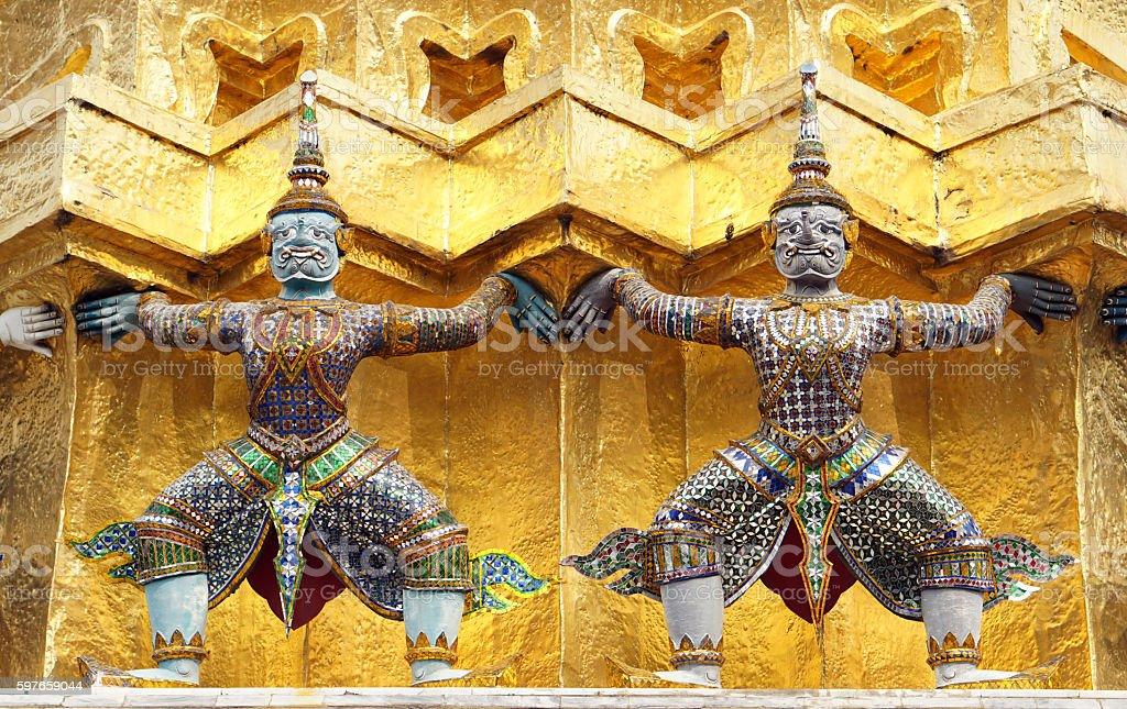 Giants statue Wat Phra Kaew Temple Of Emerald Buddha. Lan stock photo