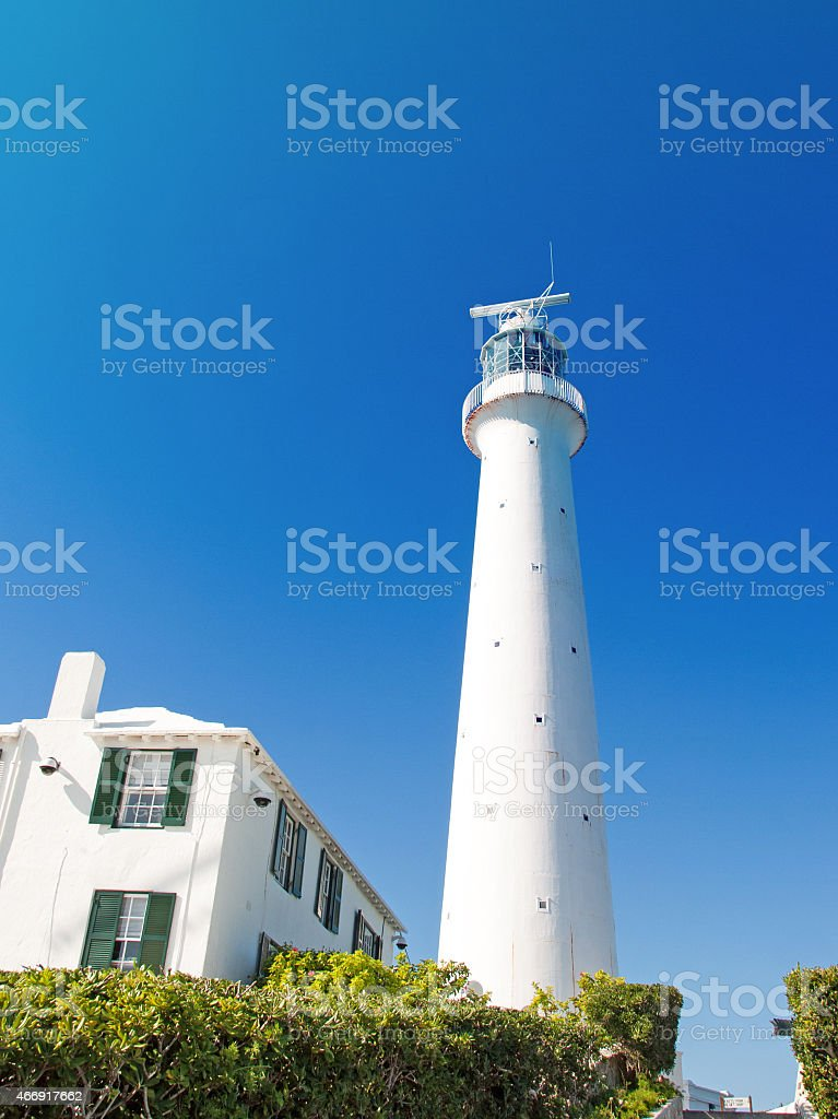 Gibbs Lighthouse, Bermuda, from the entrance walkway. stock photo