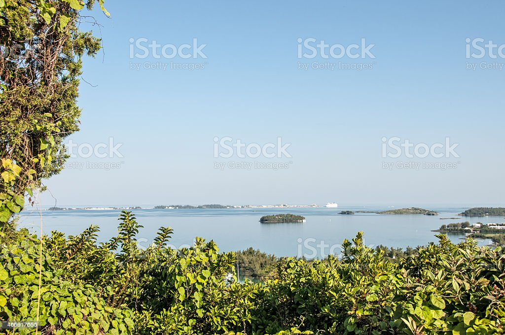 Gibbs Lighthouse, Bermuda... View from lighthouse entrance. stock photo