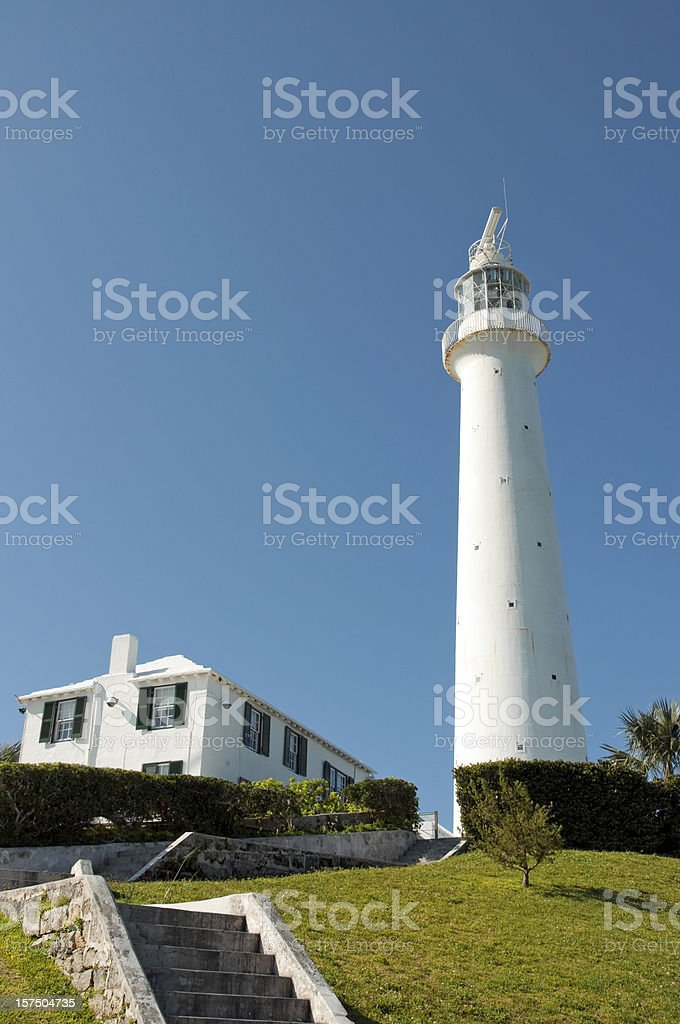 Gibbs Lighthouse in Bermuda on a Sunny Day stock photo