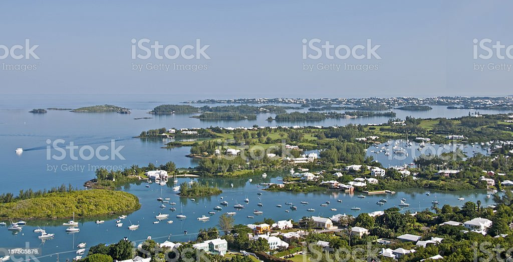Gibbs Lighthouse View, Bermuda... Hamilton Harbor stock photo