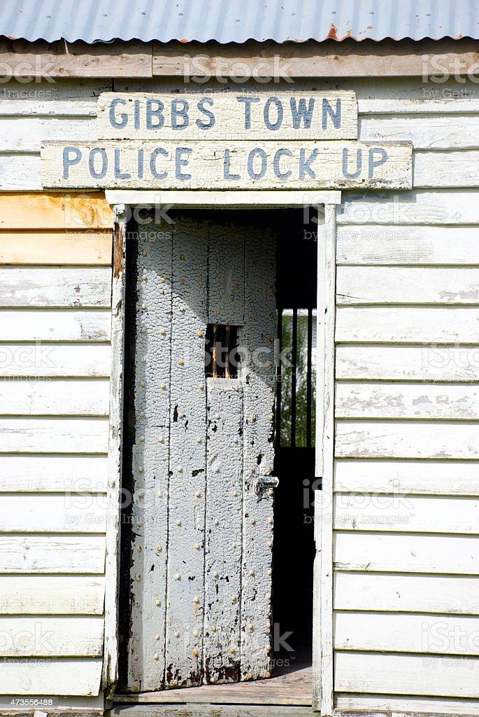 Gibbs Town Police Lock Up, Collingwood, New Zealand stock photo