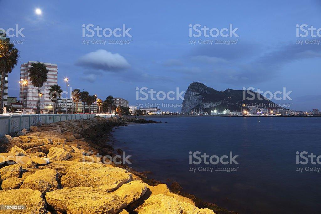 Gibraltar at dusk stock photo