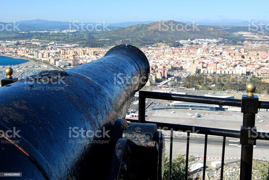 Gibraltar cannon overlooks La Linea Spain stock photo